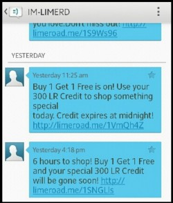 Limeroad SMS Marketing Example