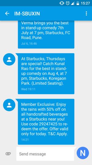 Starbucks India SMS Marketing