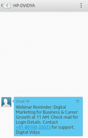 Event Reminder SMS Example
