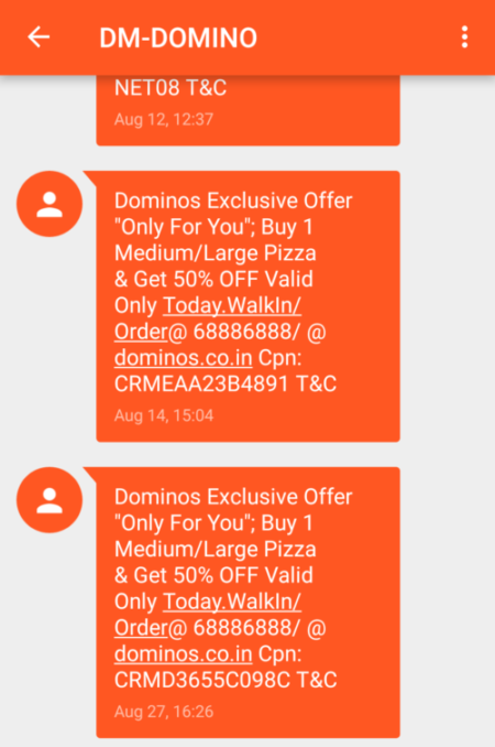 Domino's SMS Marketing Campaign Example