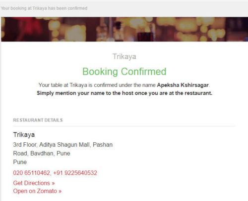 Trikaya Booking Confirmed Email