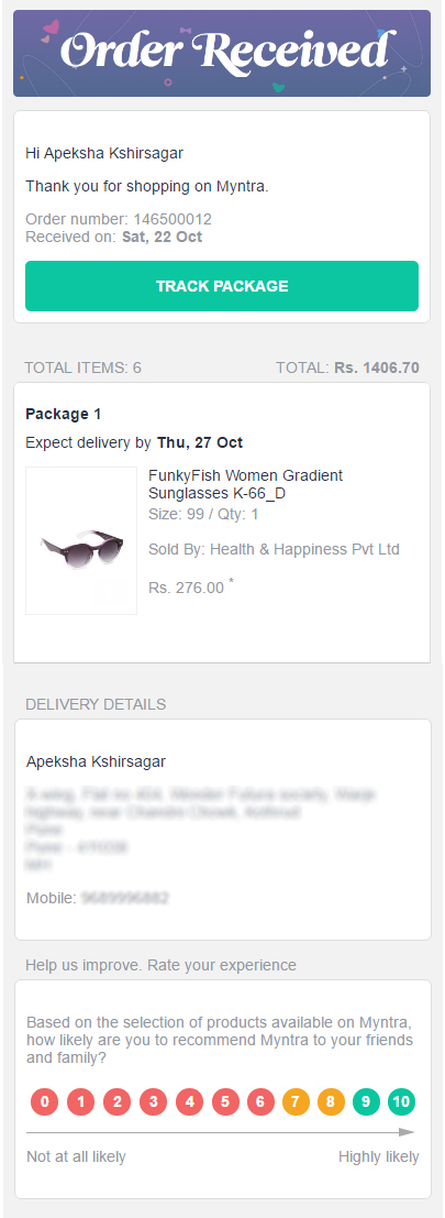 Myntra Order Received Email