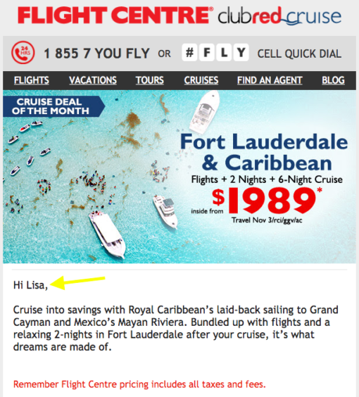 Personalized Email Example by Flight Centre